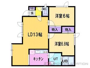 札幌市清田区平岡5条3丁目0賃貸アパート間取図面