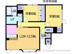 札幌市清田区平岡公園東6丁目0賃貸アパート間取図面