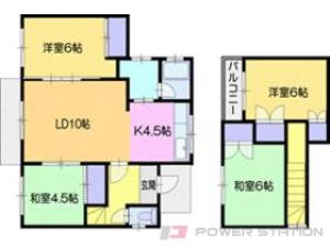 札幌市清田区里塚1条2丁目1一戸建貸家間取図面