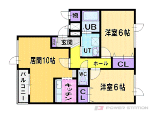 札幌市清田区平岡公園東7丁目0賃貸アパート間取図面