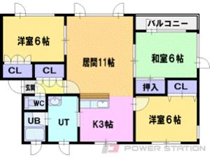 大谷地3LDKアパート図面