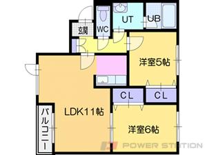 上野幌2LDKマンション図面