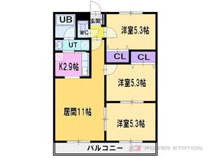 札幌市清田区平岡公園東8丁目1賃貸マンション間取図面