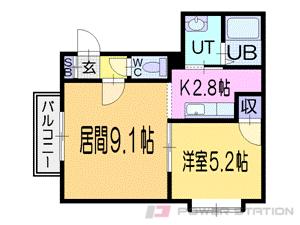 札幌市清田区清田2条1丁目1賃貸マンション間取図面