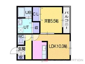 札幌市清田区清田3条1丁目1賃貸マンション間取図面