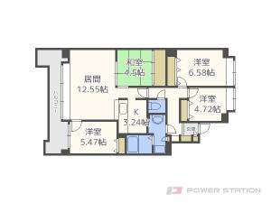 札幌市清田区清田2条2丁目0分譲リースマンション間取図面