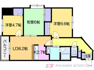 札幌市清田区清田1条1丁目0賃貸マンション間取図面