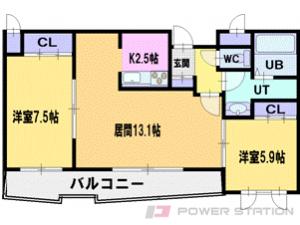 札幌市清田区清田1条4丁目1賃貸マンション間取図面