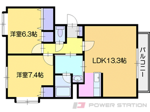 札幌市清田区平岡3条2丁目0賃貸マンション間取図面