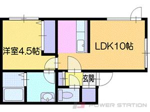 札幌市清田区平岡5条4丁目0賃貸アパート間取図面