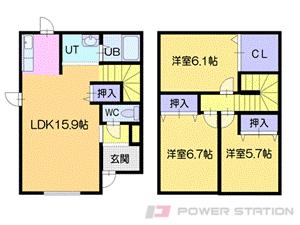 札幌市清田区平岡公園東9丁目0テラスハウス間取図面