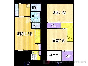 札幌市清田区清田6条1丁目0テラスハウス間取図面