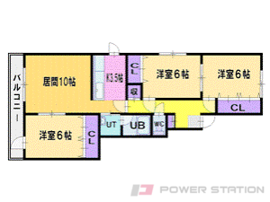 札幌市清田区真栄1条1丁目0賃貸マンション間取図面