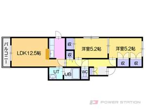 札幌市清田区真栄1条1丁目1賃貸マンション間取図面