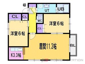 札幌市清田区真栄1条1丁目1賃貸アパート間取図面