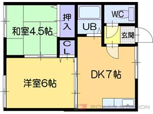 札幌市清田区平岡2条2丁目1賃貸アパート間取図面