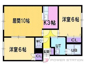 札幌市清田区平岡3条3丁目1賃貸アパート間取図面