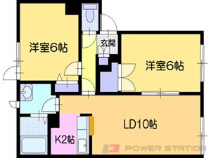 札幌市清田区平岡4条6丁目0賃貸アパート間取図面