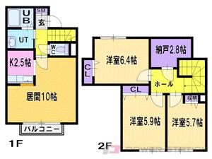 札幌市清田区清田6条2丁目0賃貸マンション間取図面