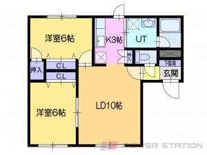 札幌市清田区清田6条2丁目0賃貸アパート間取図面