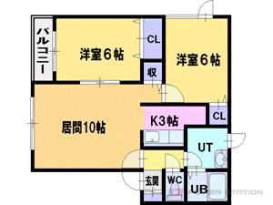 札幌市清田区清田6条3丁目0賃貸アパート間取図面