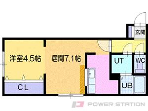 札幌市清田区真栄2条1丁目0賃貸マンション間取図面