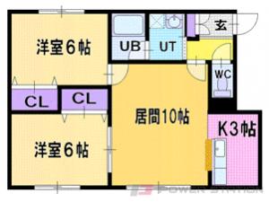 札幌市清田区真栄2条1丁目1賃貸アパート間取図面