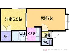 札幌市清田区真栄1条2丁目1賃貸アパート間取図面