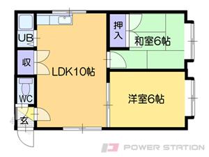札幌市清田区真栄2条2丁目1賃貸アパート間取図面