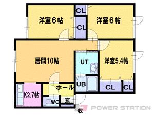 札幌市清田区真栄3条2丁目0賃貸アパート間取図面