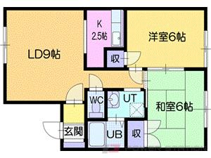 札幌市清田区真栄2条2丁目2賃貸アパート間取図面