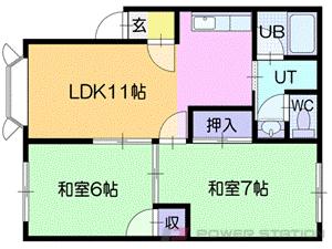 札幌市清田区真栄2条2丁目0賃貸アパート間取図面