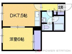 福住1DKアパート図面