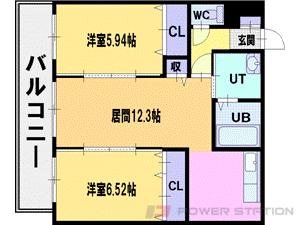 札幌市清田区平岡1条5丁目0賃貸マンション間取図面