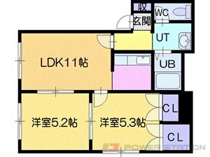 札幌市清田区里塚3条1丁目0賃貸アパート間取図面