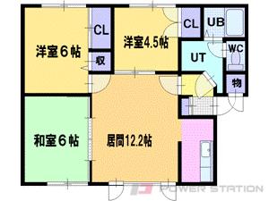 札幌市清田区清田7条3丁目1賃貸アパート間取図面