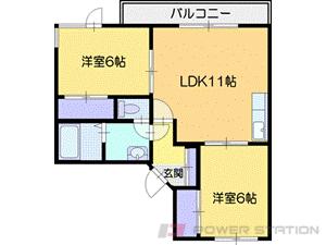 札幌市清田区真栄3条2丁目1賃貸マンション間取図面