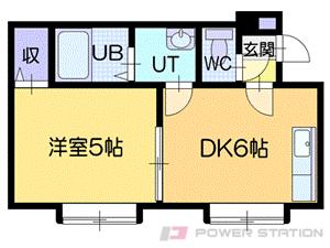 札幌市清田区真栄3条2丁目1賃貸アパート間取図面