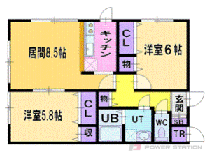 札幌市清田区里塚2条1丁目0賃貸マンション間取図面