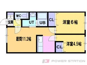 札幌市清田区里塚3条4丁目1賃貸アパート間取図面