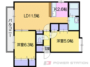 札幌市清田区里塚2条3丁目0賃貸マンション間取図面