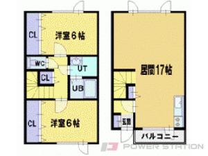 札幌市清田区里塚1条2丁目0テラスハウス間取図面