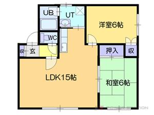 札幌市清田区里塚3条3丁目1賃貸アパート間取図面