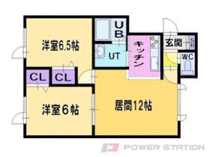 札幌市清田区美しが丘3条2丁目1賃貸アパート間取図面