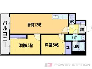 札幌市清田区美しが丘3条2丁目0賃貸マンション間取図面