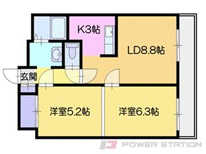 札幌市清田区里塚2条6丁目0賃貸マンション間取図面