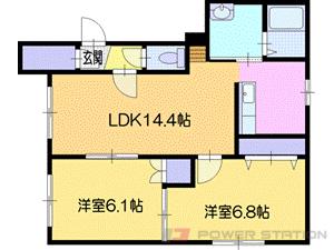 札幌市清田区美しが丘2条8丁目0賃貸マンション間取図面