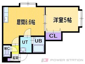 札幌市清田区美しが丘2条8丁目1賃貸アパート間取図面