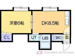 札幌市清田区美しが丘2条10丁目1賃貸アパート間取図面