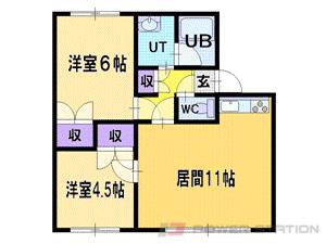 札幌市清田区美しが丘4条9丁目0賃貸アパート間取図面